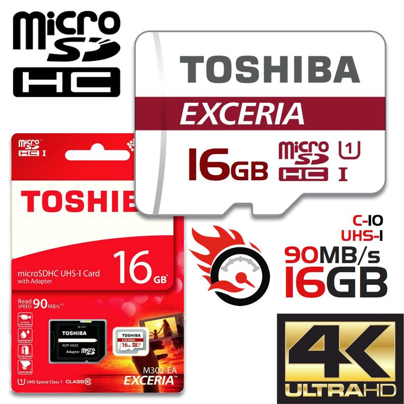 TOSHIBA Exceria M302 16GB Micro SD Kart 90 MB/s 4K