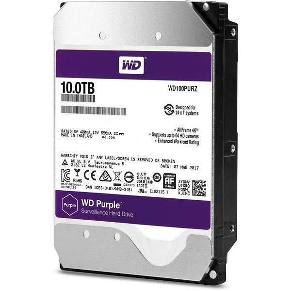 WD 10TB 5400RPM 256MB 7/24 WD100PURZ PC/DVR HARD DİSK
