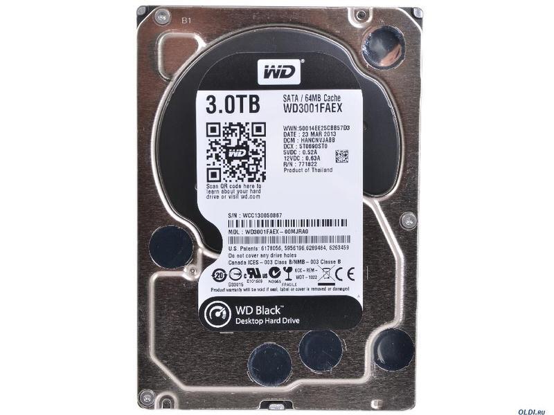 WD Black 3TB Performance Desktop Hard Disk Drive - 7200 RPM SATA 6 Gb/s 64MB Cache 3.5 Inch - WD3001FAEX