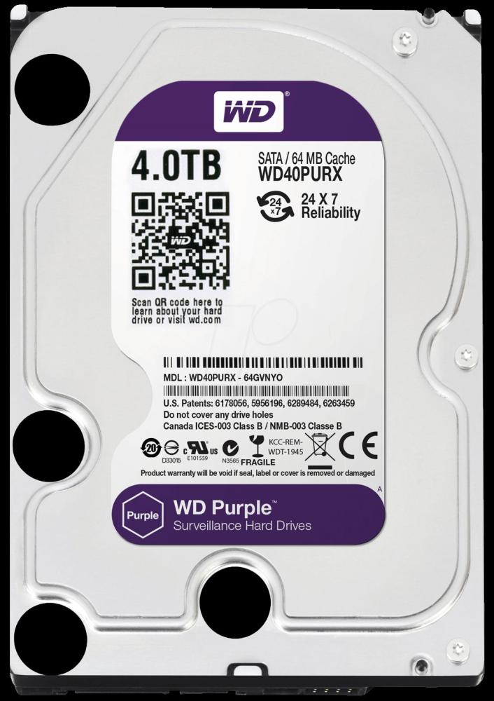 WD WD40PURX 4TB Purple 3,5 SATA 3 Sabit Disk - 5400 Rpm 64mb 6Gbit/s HDD