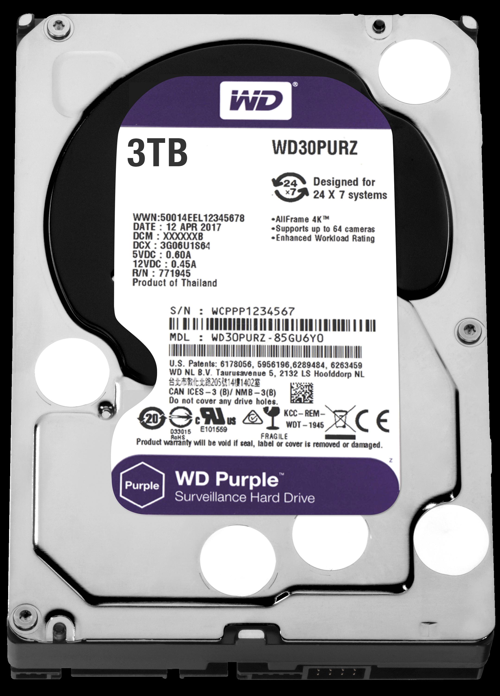 """WD 3TB Purple 3.5"""" 5400RPM 64MB SATA 3 7/24 Disk (WD30PURZ"""