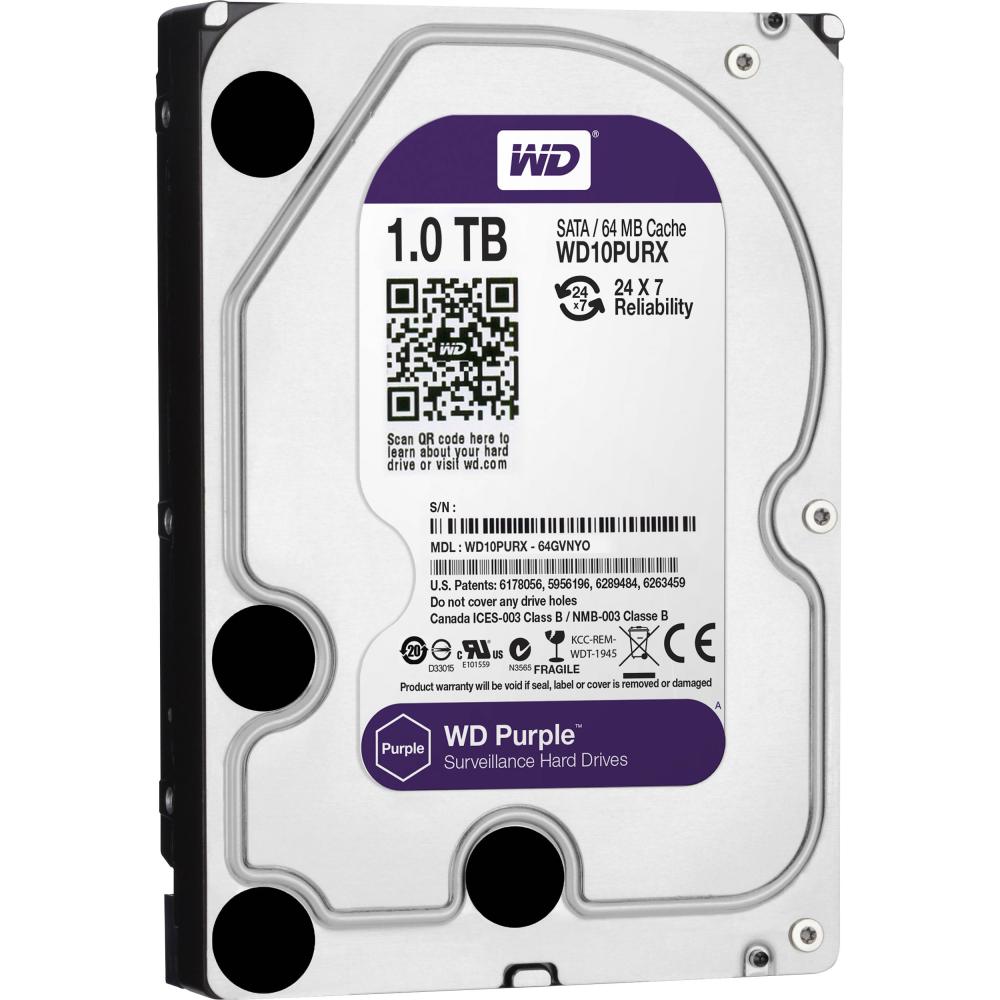 "WD WESTERN DIGITAL Purple Surveillance HardDisk WD10PURX 3.5"" SATA 1,000 GB - HardDisk - 5,400 rpm 12 ms"
