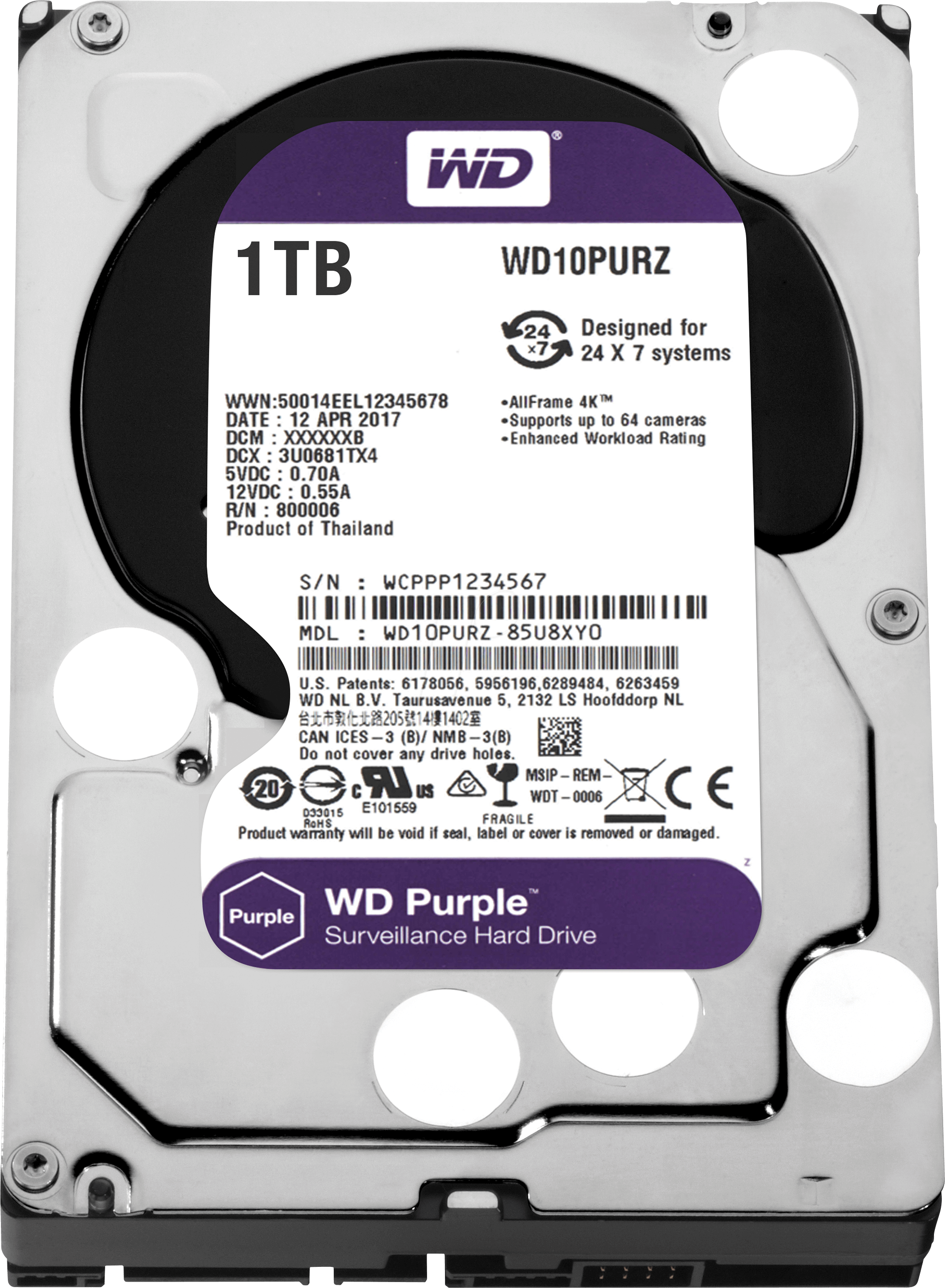 WD WESTERN DIGITAL WD10PURZ Purple 1TB 64MB SATA3 6Gb/s HDD 7x24 Güvenlik Hard Disk
