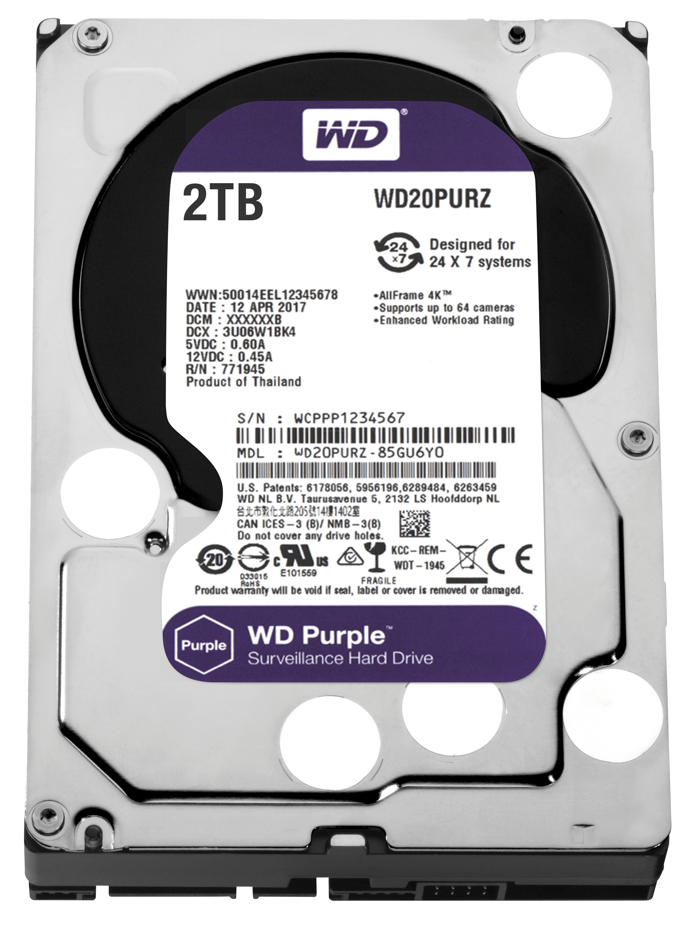 WD WESTERN DIGITAL WD20PURZ Purple 2TB 64MB SATA3 6Gb/s HDD 7x24 Güvenlik Hard Diski